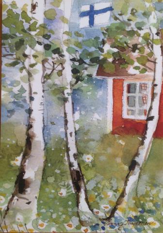 Koivuja ja punainen talo