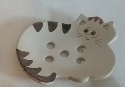 Keraaminen saippua-alusta, vaalea kissa