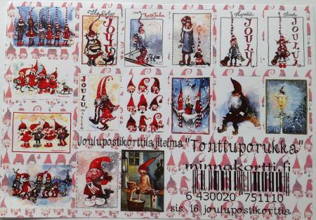 Tonttuporukka 16 kpl nippu joulukortteja