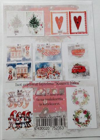 7 kpl nippu kaksioisaisia joulukortteja ilman tekstiä sisällä