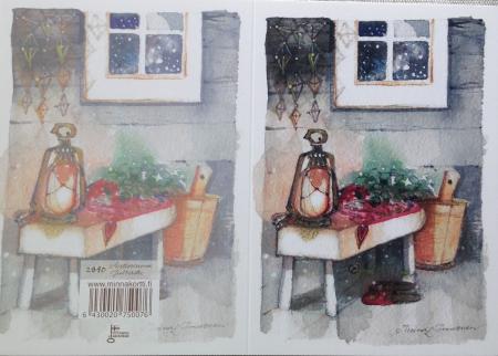 Kaksiosainen joulukortti Aattosauna
