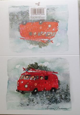 Kaksiosainen joulukortti Punainen bussi