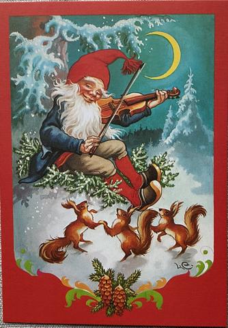 Lars Carlsson tomte spelar violin julkort, ruotsinkielinen joulukortti