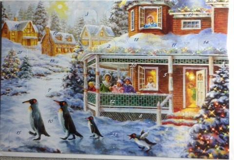 Adventtikalenterikortti Pingviinit