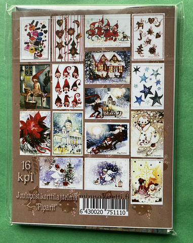 Piparit, 16 kpl valmis joulukorttinippu