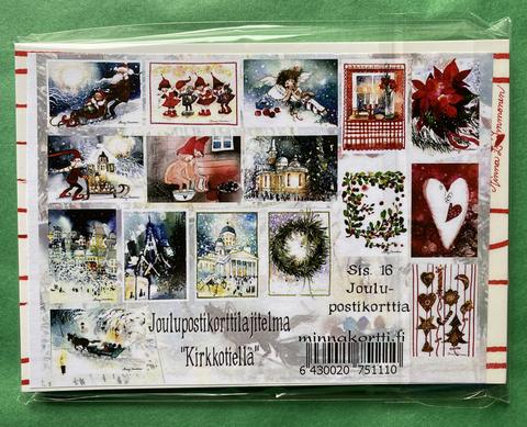 Kirkkotiellä, 16 kpl joulukortin valmis nippu