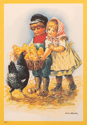 Jenny Nyström lapset ja kananpojat korissa juliste