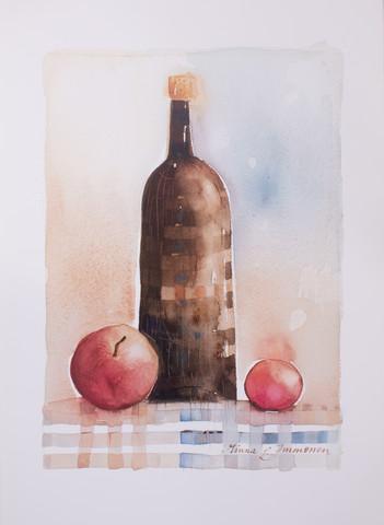 Pullo ja omenat 50 x 70