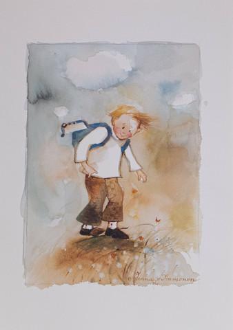 Poika reppu selässä A4