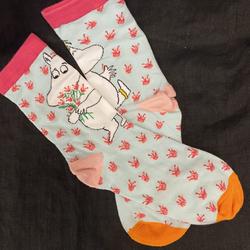 Muumipeikko vaaleanvihreät kuvioidut sukat