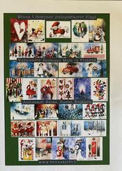 Vihreä 32 kpl nippu joulukortteja