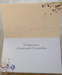 Kastepäivän kortti, pitkulainen kaksiosainen kirjekuorella