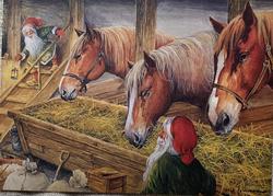 Erik Forsman julkort med hästar och tomtar, vain ruotsiksi
