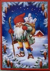 Lars Carlsson blå tomtekort, ruotsinkielinen joulukortti
