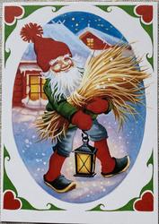 Lars Carlsson joulukortti ovaali, vain ruotsinkielinen teksti takana