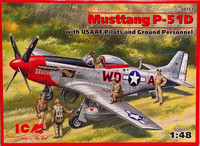 Mustang P-51D with USAAF Pilots and Ground Personnel 1:48