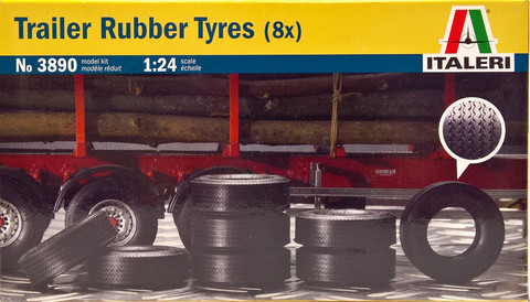 Trailer Rubber Tyres, 1:24