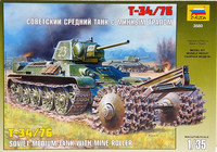 Soviet Medium Tank T-3476 with Mine Roller, 1:35