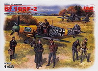 Messerschmitt Bf109 F-2 with German Pilots and Ground Personnel, 1:48