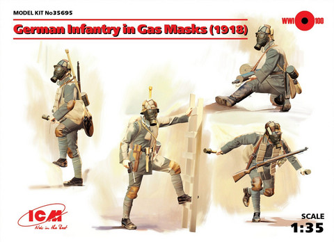 German Infantry in Gas Masks (1918), 1:35