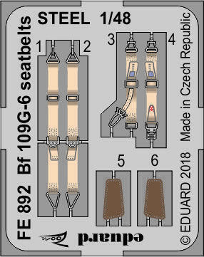 Bf 109G-6 Seatbelts (for Tamiya), 1:48