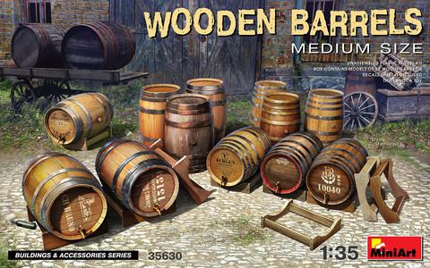 Wooden Barrels, Medium Size, 1:35