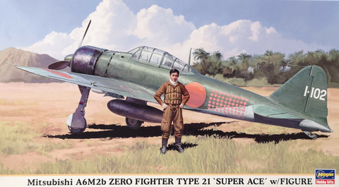 Mitsubishi A6M2b Zero Fighter Type 21 with Figure, 1:48