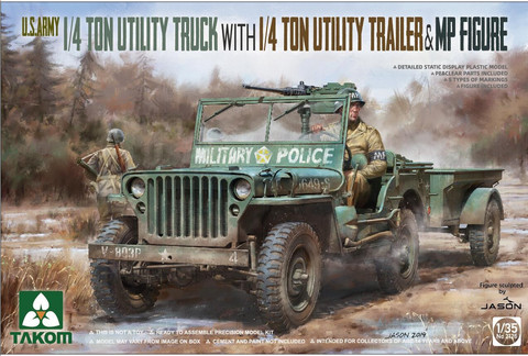 U.S. Army 1/4 Ton Utility Truck with Utility Trailer and MP Figure, 1:35