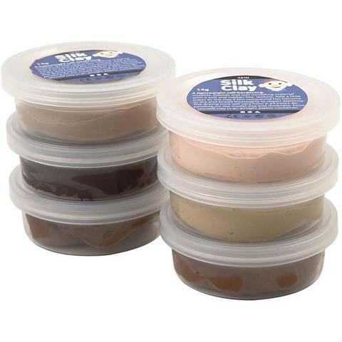 Silk Clay® silkkimassa, skin colours, 6x14g