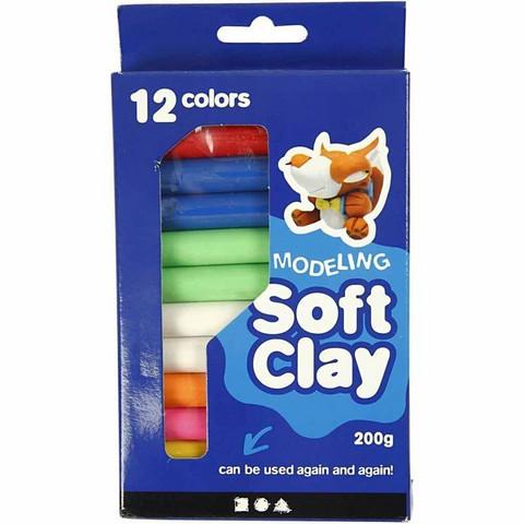 Muovailuvaha, 8 värin lajitelma, yhteensä 12 kpl pakkauksessa