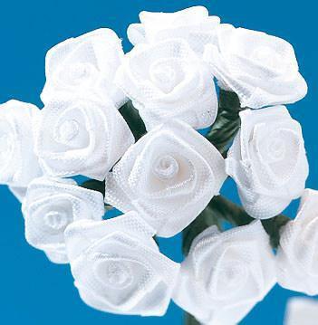 Satiiniruusut 12mm, valkoinen