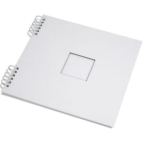 Albumi 30,5x30,5cm, 250g kierre, aukko 8x8cm, valkoinen