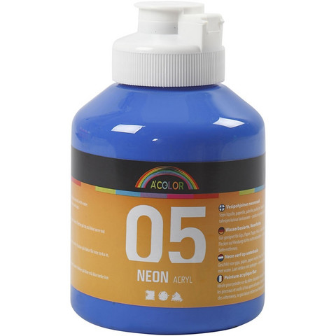 A-Color, akryylimaali, 05, neonsininen, 500ml