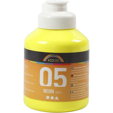A-Color, akryylimaali, 05, neonkeltainen, 500ml