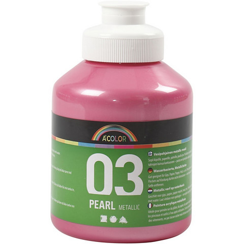 A-Color, akryylimaali, 03, metallivaaleanpunainen, 500ml