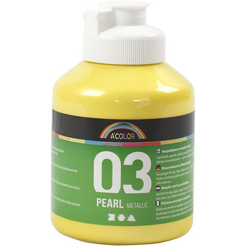 A-Color, akryylimaali, 03, metallikeltainen, 500ml