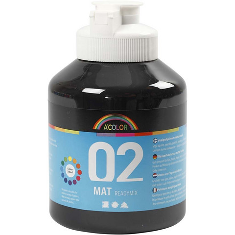 A-Color, Readymix, akryylimaali, 02, matta (kylttimaali), musta, 500ml
