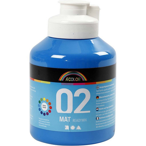 A-Color, Readymix, akryylimaali, 02, matta (kylttimaali), sininen, 500ml