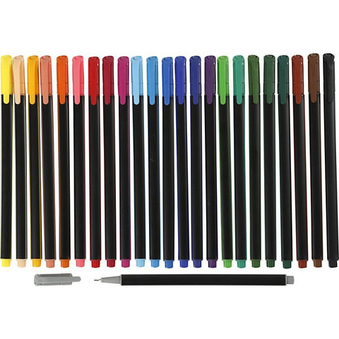 Colortime Fineliner -tussit, paksuus: 0,6-0,7 mm, värilajitelma, 24kpl