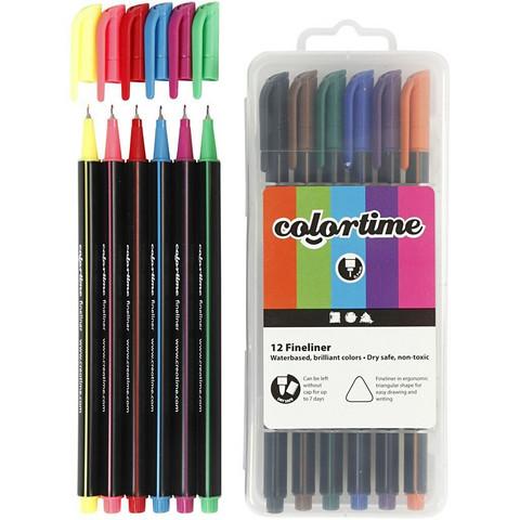 Colortime Fineliner, värilajitelma, 12 kpl