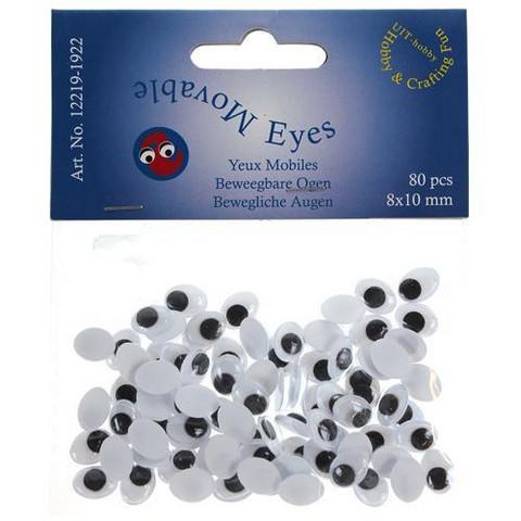 Silmät, ovaalit 8x10mm, 80kpl, Liimattavat