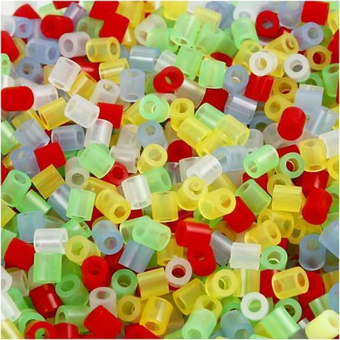 Putkihelmet, koko 5x5 mm, 1100 kpl, lajitelma, läpikuultavat värit