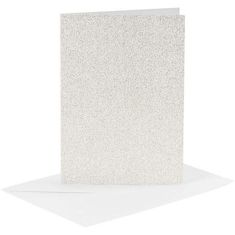 Korttipohjat ja kirjekuoret, Valkoinen, Kimalle
