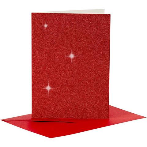 Korttipohjat ja kirjekuoret, Punainen, Kimalle