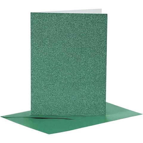 Korttipohjat ja kirjekuoret, Vihreä, Kimalle