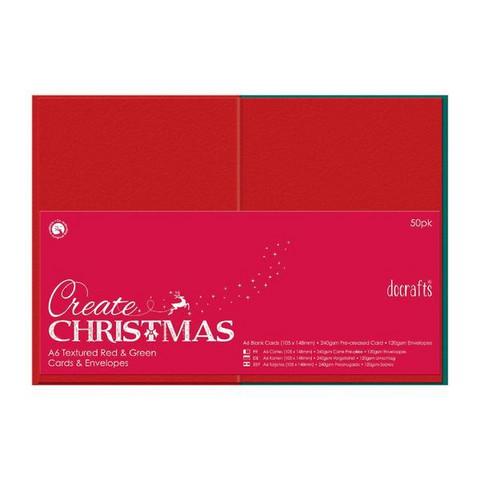 Korttipohjapakkaus, Taitettu A6, 50kpl punainen/vihreä
