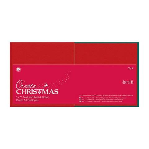 Korttipohjapakkaus, Neliö, 50kpl, punainen/vihreä