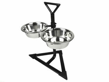 Classic Koiran ruokakuppiteline musta