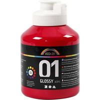A-Color, akryylimaali, 01, kiiltävä, punainen, 500ml