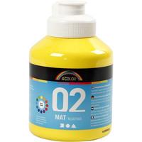 A-Color, Readymix, akryylimaali, 02, matta (kylttimaali), keltainen, 500ml